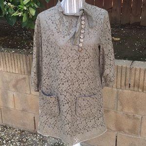 BCBGmaxazria lace tunic/dress w/flower buttons